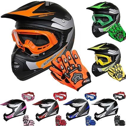 Leopard LEO-X19 Casco de Motocross para Niños Naranja S (49-50cm) y Guantes S(5cm) y Gafas ECE Homologado