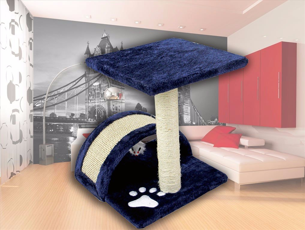 FLA 15'' Small Cat Tree Sisal Scratching Post Furniture Playhouse Pet Kitten Toy Cat Tower for Kittens and Medium Sided Cats (Navy)
