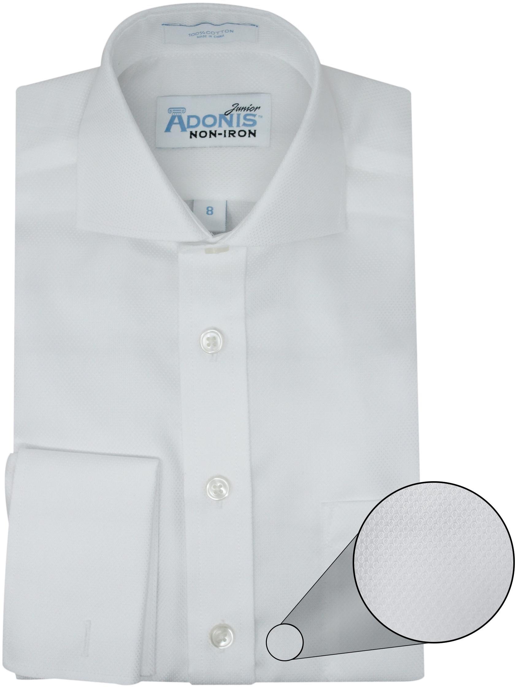 Adonis Boys 100% Cotton Non Iron White French Cuff Birdseye Pique Dress Shirt (Regular Fit) - White, 8