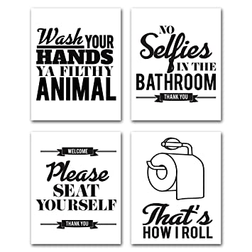 Bathroom Sayings Wall Art.Bathroom Quotes Wall Art Sayings Funny Pharse For Home Decoration Bathroom Decor Canvas Print Artwork Rules Toilet Modern Black White Poster Kitchen