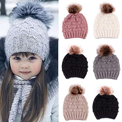 3f1a058da Gbell Cute Toddler Crochet Knit Hat Snow, Pompom Beanie Winter Warm Knitted  Cap for Kids Girl Boy Baby Infant 6 Months - 5 Years Old