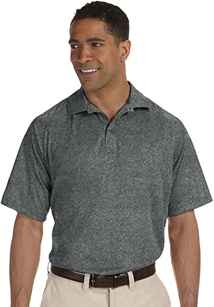 Small Harriton Youth Double Mesh Sport Shirt CHARCOAL