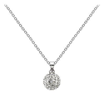 d39a1b7529 Dew Women's Sterling Silver and Swarovski Crystals Disco Ball Necklace of  Length 18 inch: Amazon.co.uk: Jewellery
