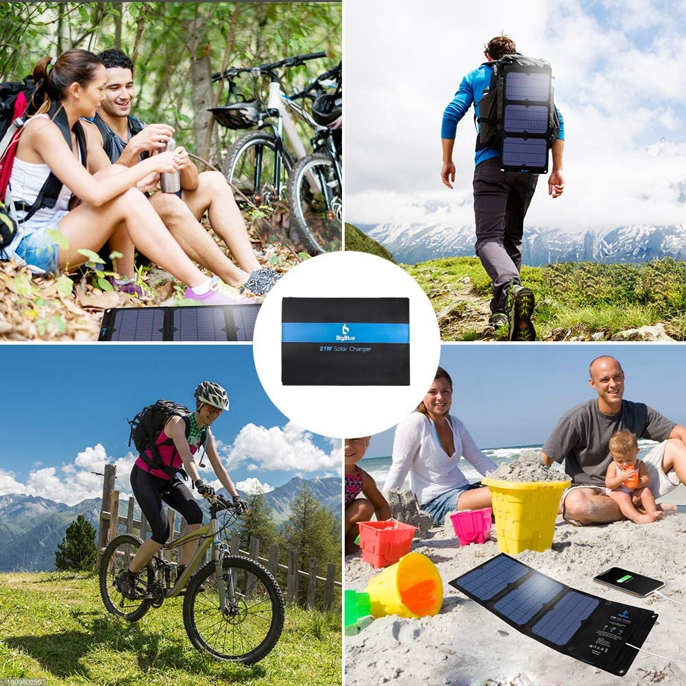 Samsung Galaxy S9 S8 BigBlue 21W Solar Phone Charger with Dual USB Ports 3.8A Max Total Foldable Waterproof Outdoor Solar Panels Charger Compatible with iPhone Xs XS Max XR X 8 7 Plus iPad LG etc