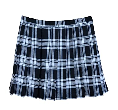 bca6cd1e3 Amazon.com: Women School Uniforms Plaid Pleated Costume Mini Skirt ...