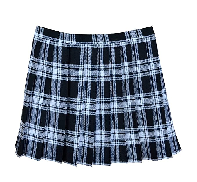 94eb5e27fb Golden service Women School Uniforms Plaid Pleated Mini Skirt Black White