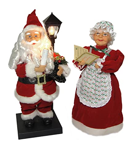set of 2 illuminated animated santa claus mrs claus christmas figures