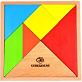 GYBBER&MUMU タングラム パズル 赤ちゃん 幼児のおもちゃ 木製 知恵の板 知恵パズル 図形モザイクパズル 教育木製セブンピース 木製組み合わせパズル 脳に体操玩具 アマゾン木製玩具タングラム 天才脳パズル tangram (カラー)