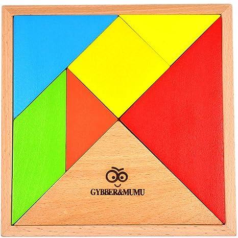 Gybbermumu タングラム パズル 赤ちゃん 幼児のおもちゃ 木製 知恵の板 知恵パズル 図形モザイクパズル 教育セブンピース 組み合わせパズル 脳に体操玩具 アマゾン木製玩具 Tangram カラフル