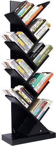 Wood Bookshelf Narrow Tall Tree Bookshelf Black Modern Open Wooden Bookcase Book Shelf Bookcases and Book Shelves