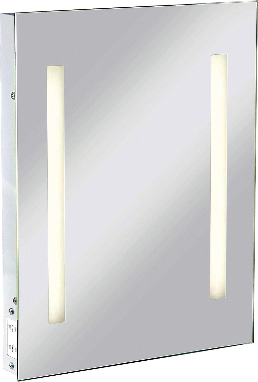 mit Rasiersteckdose mit dualer Spannung IP44 Knightsbridge Rechteckiger Spiegel