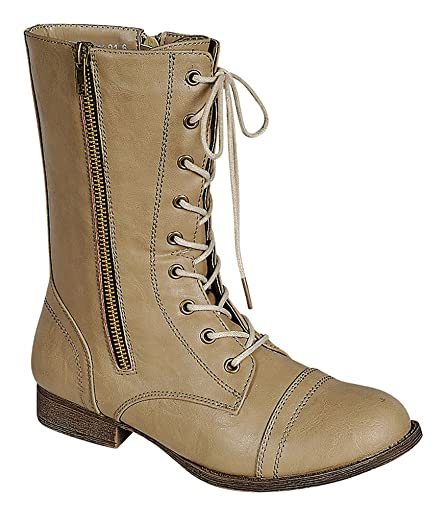 Refresh Libby-08 Women's Round Toe Lace up Open Zip With Camouflage Distressed PU Military Style Riding Mid-Calf Boots Taupe 8.5