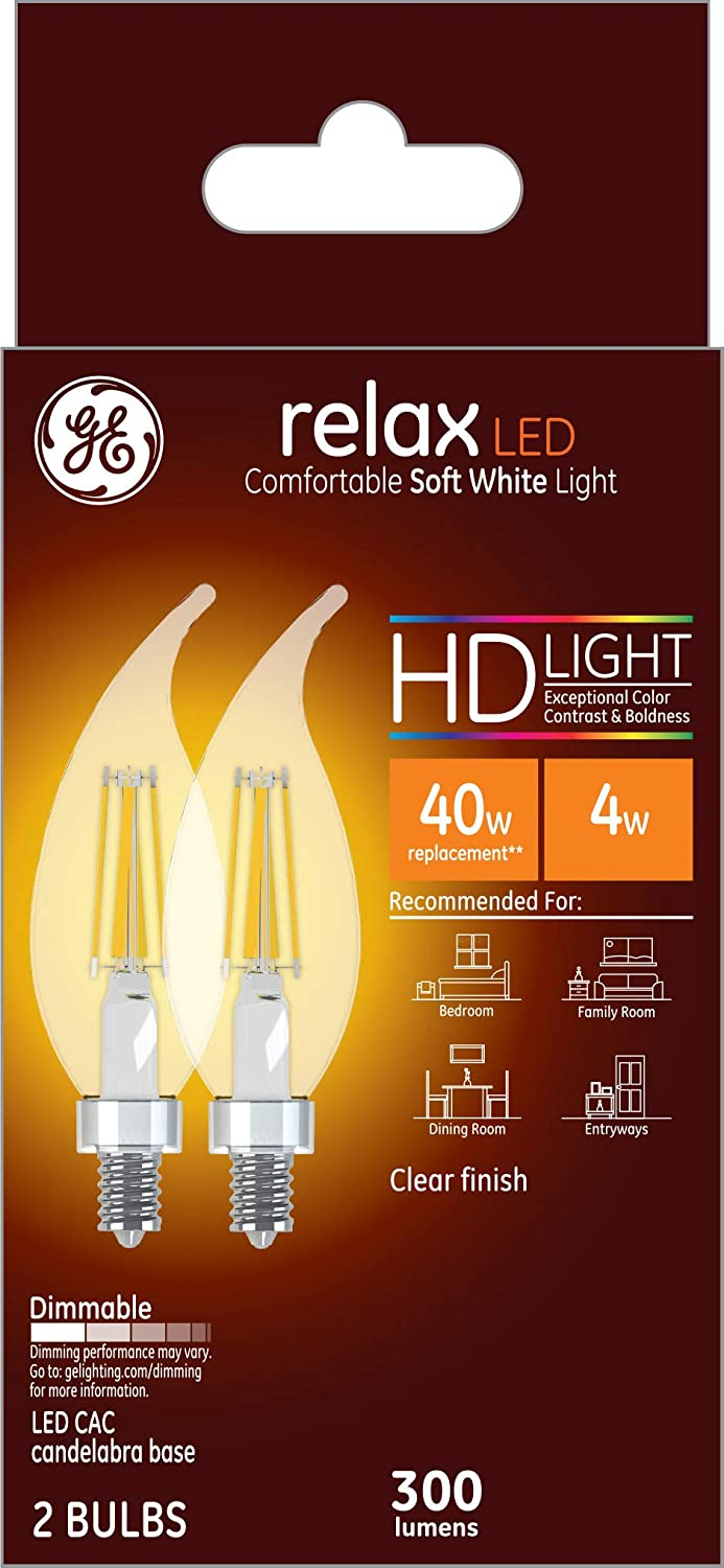 300-Lumen Candelabra Base Bent Tip 2-Pack 40-Watt Replacement Soft White GE Lighting 31384 Clear Finish Light Bulb Relax HD Dimmable LED Decorative 4 2