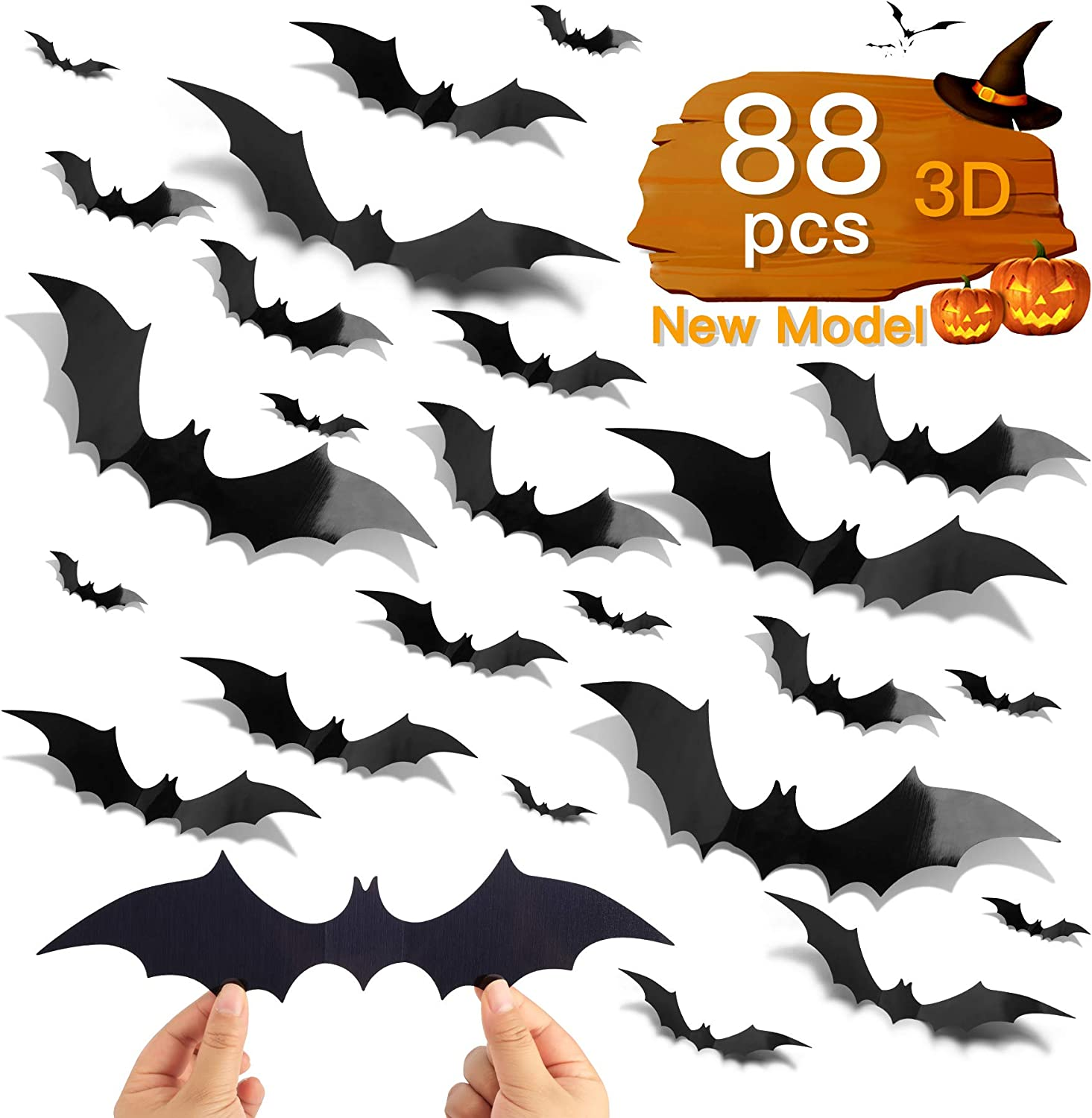 88pcs DIY Halloween Decorations Party Supplies, PVC 3D Halloween Ornaments Scary Bats Wall Decals Window Stickers, Halloween Eve Home Wall Halloween Decor Supplies