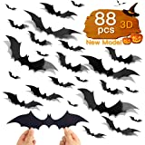 88pcs DIY Halloween Decorations Party Supplies, PVC 3D Halloween Ornaments Scary Bats Wall Decals Window Stickers, Halloween