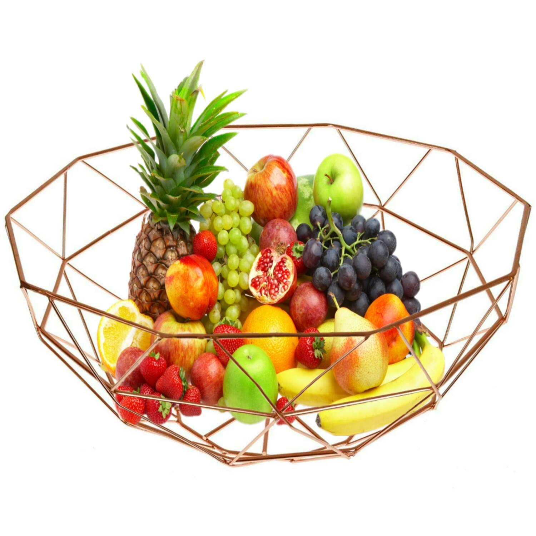Abaseen Geometric Platted Effect Metal Design Wire Fruit//Vegetable Basket Display Kitchen Storage