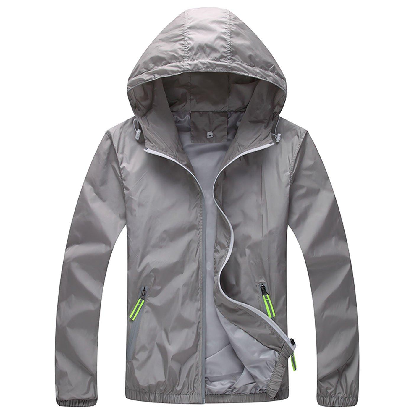 Panegy Women's Windproof Jacket Men's Outerwear Windproof Waterproof Running Casual Lightweight Grey XL by Panegy