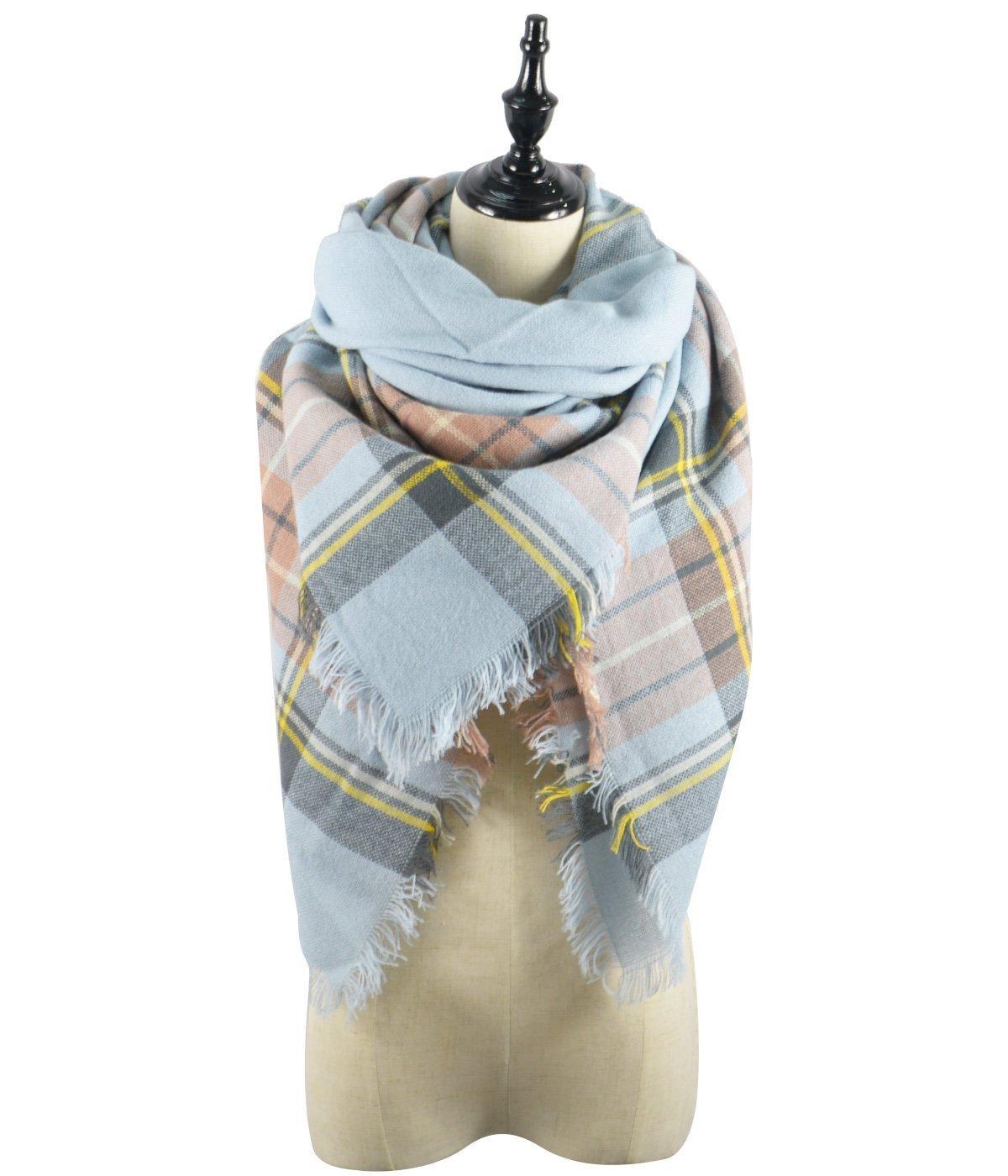 Century Star Women's Gorgeous Fall and Winter Plaid Blanket Scarf Warm Tartan Wrap Shawl Light Blue