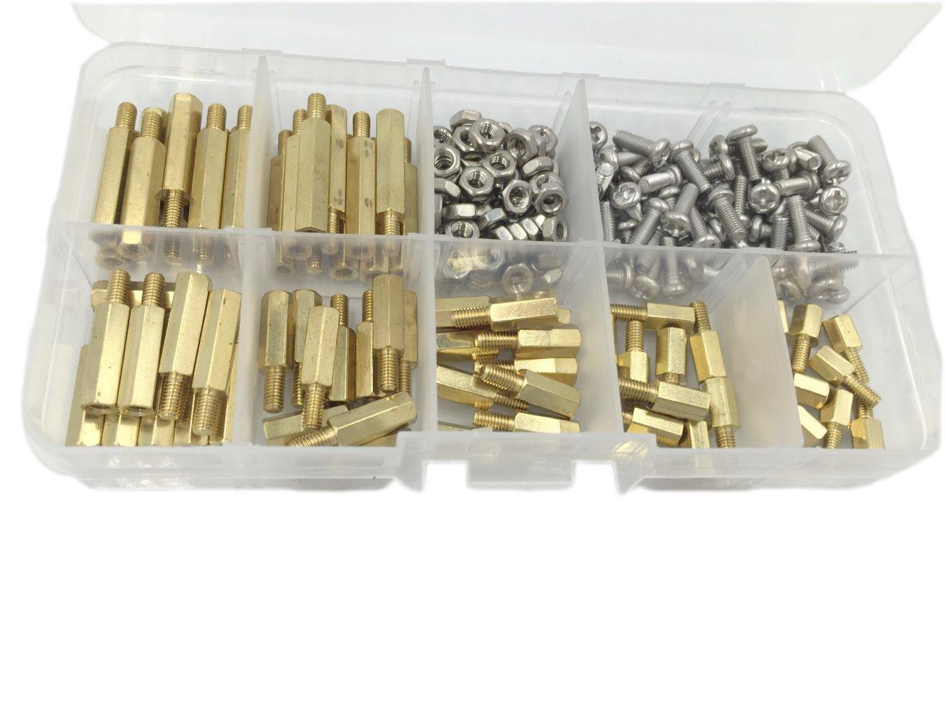 HVAZI 210pcs M3 Male Female Brass Spacer Standoff//Stainless Steel Screw//Nut Assortment Kit honghuida