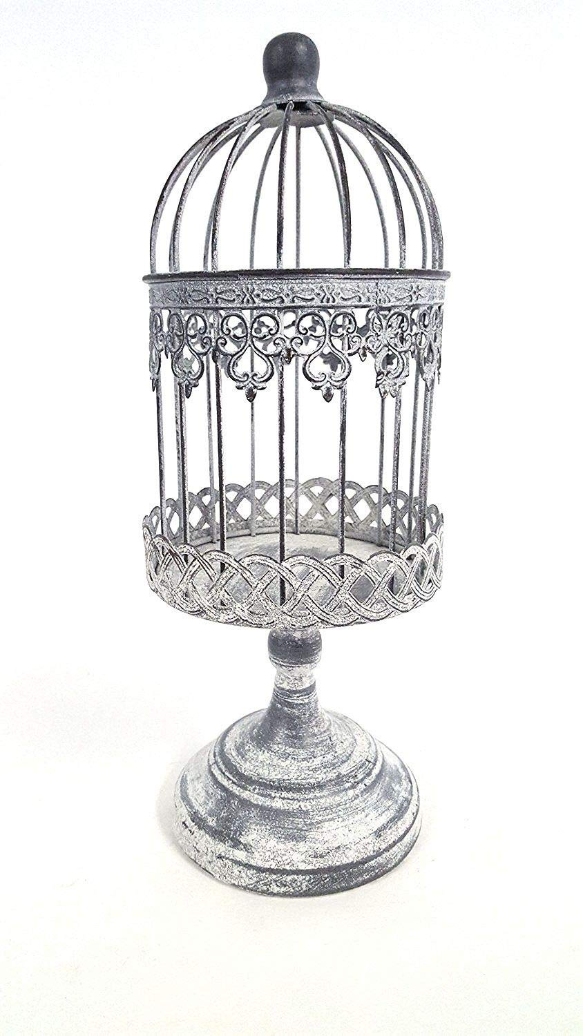 Antique Beige Small Iron Bird Cage on Stand by Everydecor