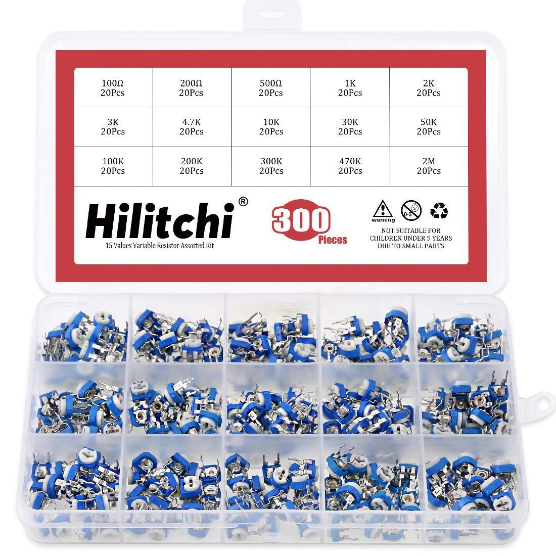 Hilitchi 15 Value 300pcs Variable Resistor Assorted Kit Circuit Diagram Potentiometer Industrial Scientific