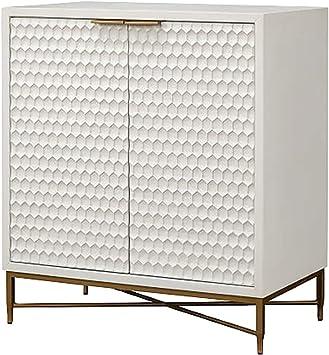 Benjara Honeycomb Design 2 Door Bar Cabinet With Metal Legs White Amazon Ca Home Kitchen