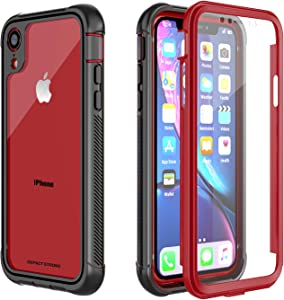 iPhone XR Clear Case, ImpactStrong Ultra Protective Case with Built-in Clear Screen Protector Clear Transparent Full Body Cover for iPhone XR 2018 6.1 inch (Red)