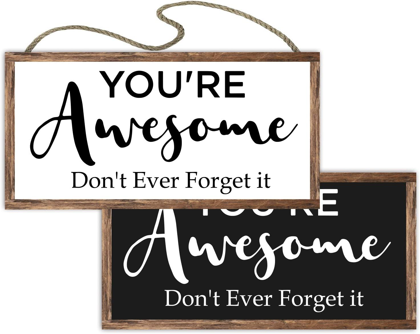 vizuzi Reversible Double Sided Sign with Inspirational Saying for Home and Office Decor - You are Awesome Don't Ever Forget It - A for Your Family, Friends and Colleagues.