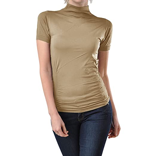 9ed045afdfcfc5 Ekimo T-USA Stretch Short Sleeve Mock Neck Turtleneck Blouse Top Shirt  (Beige)