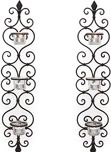 Adeco HD0037 Decorative Iron Vertical Candle Tea Light Pillar Holder Wall Sconce