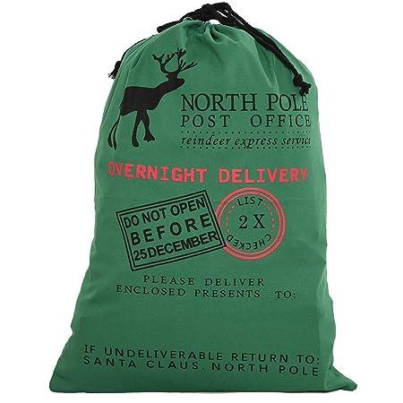 e0c985bbabf Style Slice 1 x Green Large Santa Sack - Personalised Christmas Eve Bag  Drawstring Hessian Fabric