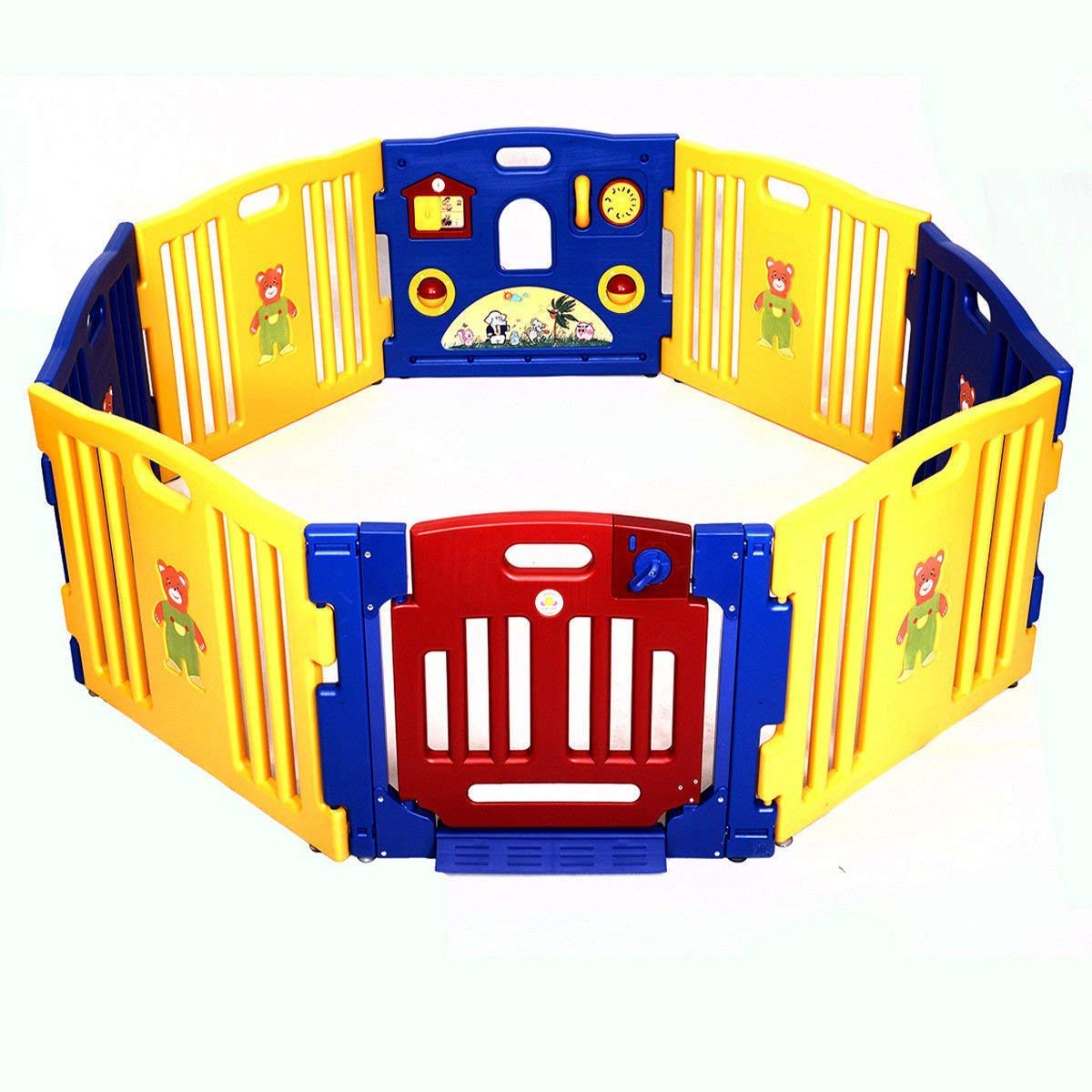 Costzon Baby Playpen, Kids Safety Activity Center Play Zone, Shape Adjustable Playpen with Activity Board & Secure Locking System (8 - Panel)