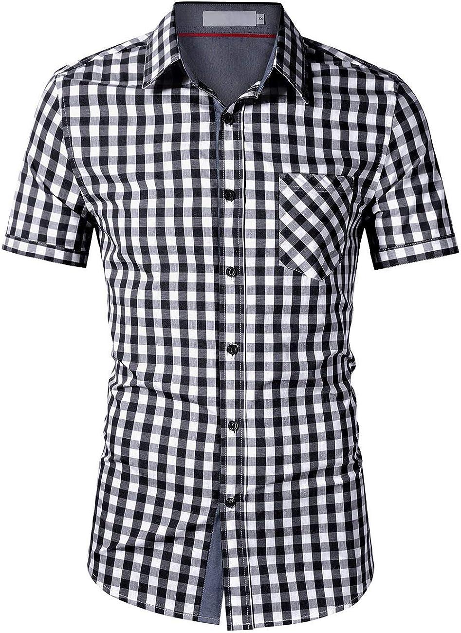 wer3fnmh - Camisa de manga corta para hombre, diseño de cuadros, color blanco y negro - Negro - X-Large: Amazon.es: Ropa y accesorios