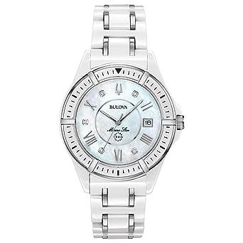 518ff90da Bulova Women's Marine Star Quartz Watch with Ceramic Strap, White, 18  (Model: