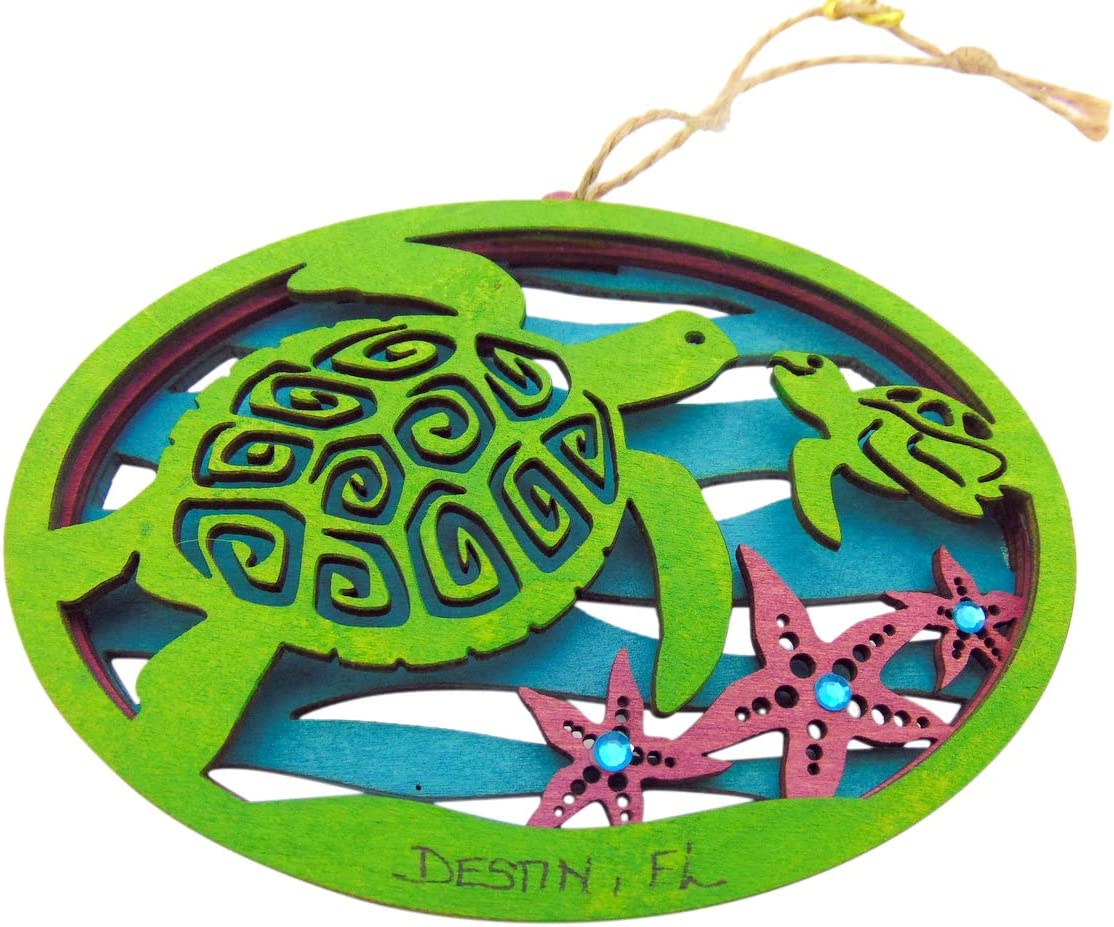 Destin Florida Ornament with Sea Turtle Wooden Christmas Tree Décor Boxed