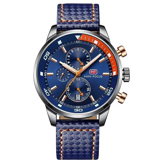MF Mini Focus - Reloj analógico para Hombre, cronógrafo, Resistente al Agua, Cuarzo, para Regalo: Amazon.es: Relojes