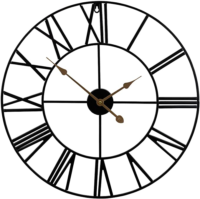 24 Round Oversized Ancient Roman Numeral Style Home D/écor Analog Metal Clock-Indoor Silent Battery Operated Metal Country Farmhouse Decorative Wall Clock for Home Large Wall Clock Black /& Gold