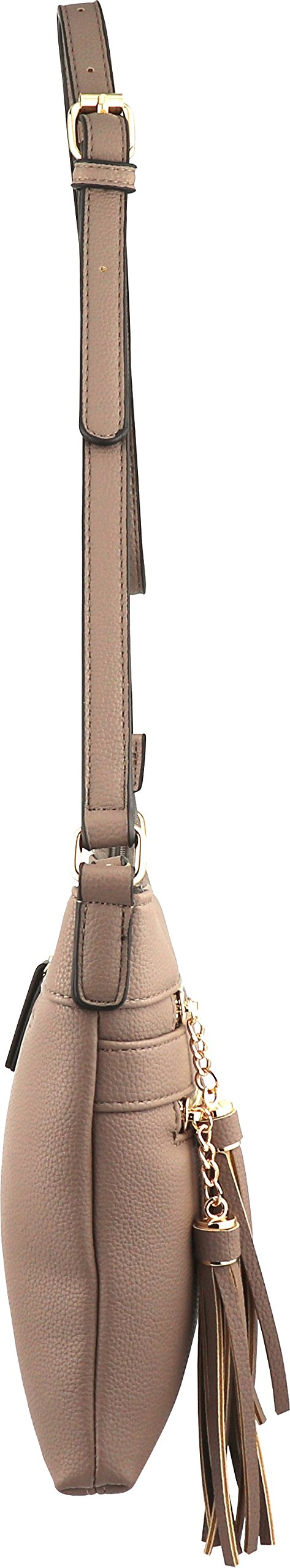 B BRENTANO Vegan Multi-Zipper Crossbody Handbag Purse with Tassel Accents (Nude 1) by B BRENTANO (Image #4)