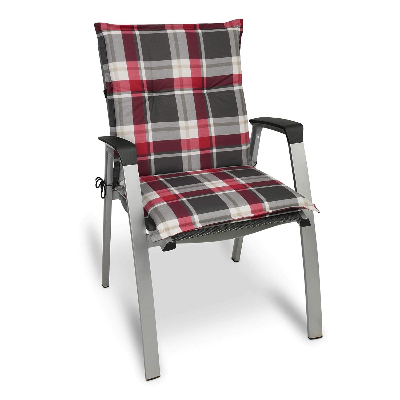 Beautissu Set de 6 Cojines para sillas de Exterior y jardín con Respaldo bajo Sunny RK Burdeos 100x50x6 cm tumbonas, mecedoras, Asientos cómodo ...
