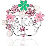 KINGSIN AKA Sorority Gifts Alpha Kappa Alpha Paraphernalia Pearl Crystal Flower Leaf Brooch AKA Graduation Jewelry for Women
