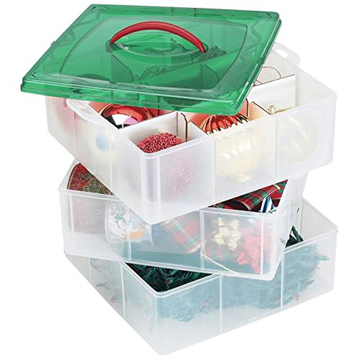 amazoncom christmas plastic ornament storage container 3 stackable snap together box trays bundled with ribbon container cloth home kitchen - Christmas Decoration Storage Containers
