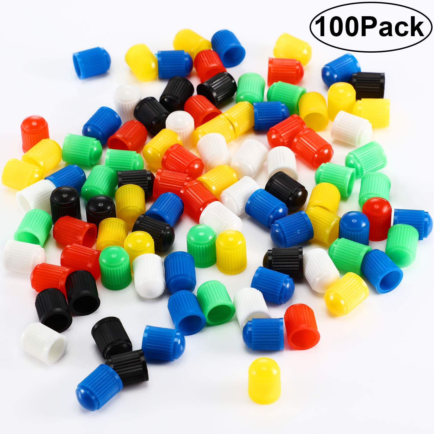 Hsei 100 Pieces Plastic Tyre Valve Dust Caps for Car Bike and Bicycle Motorbike 6 Assorted Colors Trucks