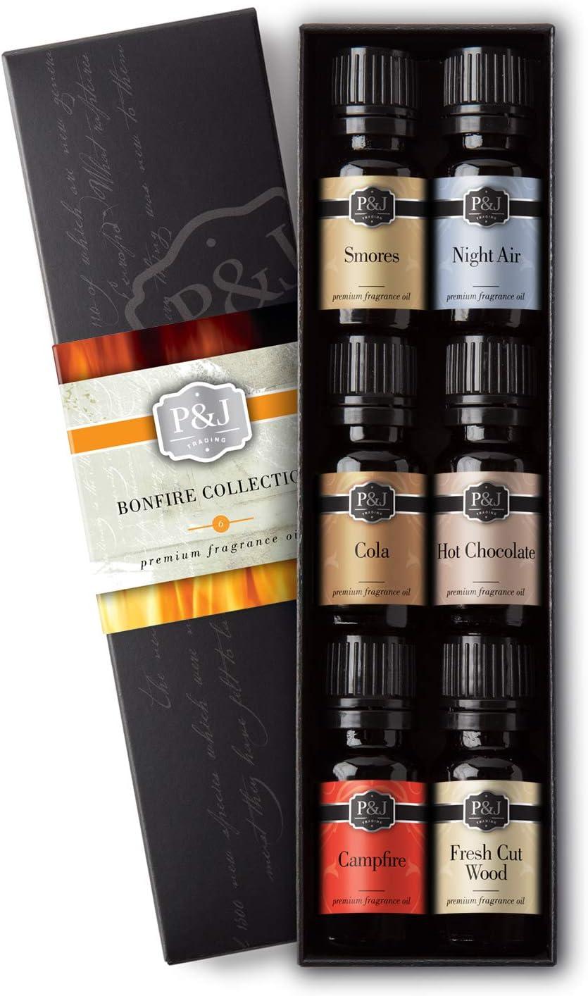 Bonfire Set of 6 Fragrance Oils - Premium Grade Scented Oil - 10ml - Smores, Night Air, Cola, Hot Chocolate, Campfire, Cut Wood