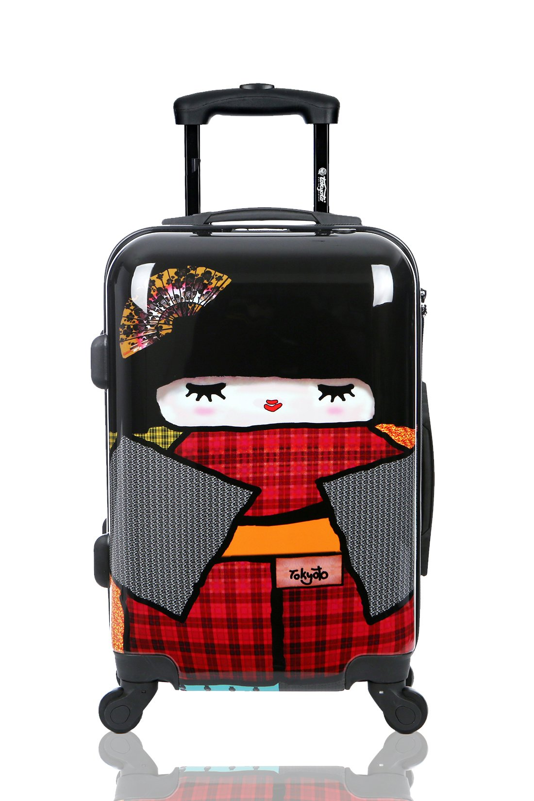 Carry-on Cabin Luggage 55x35x20 Suitcase 20 inch Approved Lightweight 4 Wheel Hard Case Kids Small Size Children Powerbank Charger Prepared JAPAN DOLL TOKYOTO LUGGAGE (TROLLEY + CHARGER)