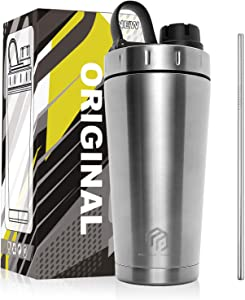 MUSCLE POUND Classic Insulated Stainless Steel Shaker Bottle For Protein Mixes, Double Wall, Leakproof, BPA Free, 20oz (Silver/Straw)