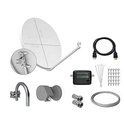 Tecatel E80C1LSCCK1 - Kit parabólica de 80 cm (soporte, LNB Universal, cable, conectores, grapas, bridas y buscador), color blanco