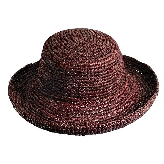 9616172a5ffb7d Scala Collezione Crocheted Organic Raffia Sun Hat 3 inch Brim (LR545)  (Chocolate)