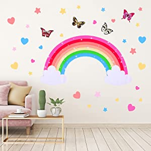 Yeaqee Rainbow Wall Decals Removable Star Butterfly Heart Wall Sticker Watercolor Star Rainbow Wall Sticker Vinyl Girls Room Decorations for Nursery Baby Kids Girl Teen Bedroom