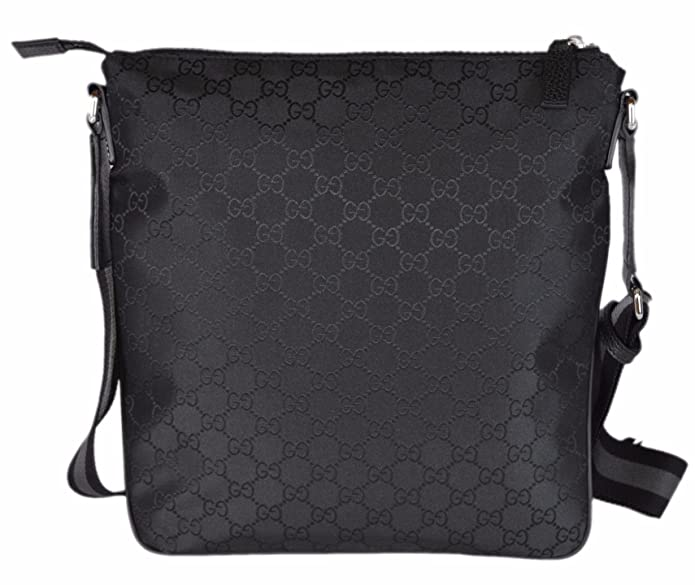 067eeb114ab Gucci Men s Nylon GG Guccissima Web Trim Crossbody Messenger Bag  (Black Medium)  Amazon.co.uk  Shoes   Bags