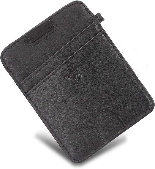 Mens Leather Money Clip Multi-Card Holder Thin Slim Front Pocket Wallet